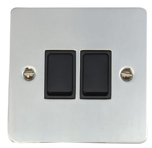 G&H FC2B Flat Plate Polished Chrome 2 Gang 1 or 2 Way Rocker Light Switch
